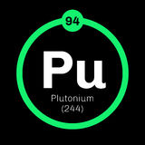 Plutonium chemical element. Plutonium, chemical element. Actinide dangerous radioactive metal of silver gray appearance Royalty Free Stock Images