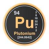 Plutonium Pu chemical element. 3D rendering. Isolated on white background stock illustration