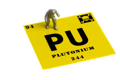 Plutonium symbol miniature man chemical suit. Plutonium symbol with a miniature man in a protective suit Stock Photography