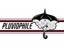 Pluviophile Vectorhand getrokken illustratie van paraplu met strepen, wolken en verlichting vector illustratie