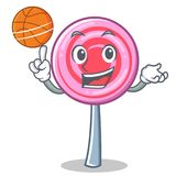 Plying basketball cute lollipop character cartoon. Vector illustration Royalty Free Stock Photo