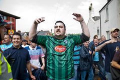 Plymouth Argyle fans shout at rival Exeter City Royalty Free Stock Image