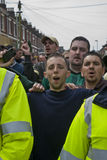 Plymouth Argyle fans shout at rival Exeter City Stock Photos