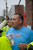 Plymouth Argyle supporter being searched Stock Photos