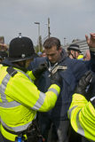 Plymouth Argyle supporter being searched by po Stock Photos