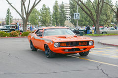 Plymouth-Barracuda klassieke auto op vertoning Royalty-vrije Stock Afbeeldingen