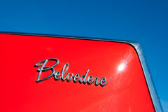 Plymouth Belvedere classic car. ROSMALEN, THE NETHERLANDS - OCTOBER 15: Plymouth Belvedere classic car detail at the Rock Around the Jukebox event on October 15 royalty free stock image