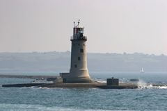 Plymouth Breakwater. The lighthouse at the end of Plymouth Breakwater, Devon, England Royalty Free Stock Photo