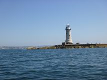 Plymouth Breakwater Lighthouse Western end stock photos