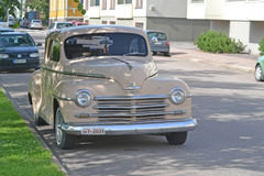 Plymouth 1950 chevrolet, retro car. Porvoo, Finland - July 25, 2015: Plymouth 1950 chevrolet, retro car. This will improve your sales Royalty Free Stock Photography