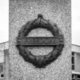 Plymouth City War Memorial Wreath with Freedom Plaque. Plymouth, England - Sep 12, 2018: Plymouth City War Memorial Wreath with Freedom Plaque, Shallow Depth of royalty free stock photos