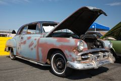 1951 Plymouth. CONCORD, NC - September 22, 2017:  An unrestored 1951 Plymouth automobile on display at the Pennzoil AutoFair classic car show held at Charlotte Royalty Free Stock Image