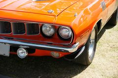 Plymouth Cuda Front End. Closeup of the 1971 Plymouth Cuda front end stock photo
