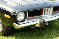 Plymouth Cuda Front End. Closeup of the 1973 Plymouth Barracuda front end stock image