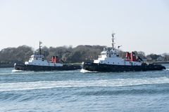 Tugboats on the River Tamar Devonport UK royalty free stock image