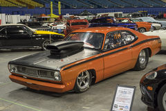 Plymouth duster drag car. Montreal october 10-12, 2014 picture of plymouth duster drag car with big hood scoop in display during the autorama event Royalty Free Stock Photography