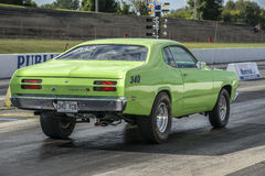 Plymouth duster. Sanair september 6-7, 2014 rear side view of plymouth duster at the starting line during festidrag event Royalty Free Stock Photos