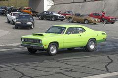 Plymouth duster on the track Stock Photography