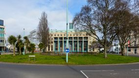 St Andrews Cross Roundabout with Gdynia Fountain and The Royal B. Plymouth, England - April 15, 2018: St Andrews Cross Roundabout with Gdynia Fountain and The stock photos