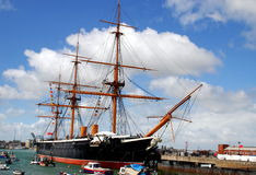 Plymouth, England: HMS Warrior. The three-masted H. M. S. Warrior sailing ship was built in 1860 and is now berthed in the historic south coast city of Plymouth Stock Image