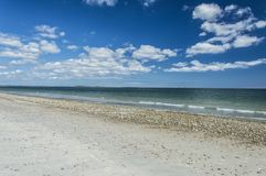 Plymouth Long Beach, MA, USA. The beach is approximately three miles in length. It begins just south of the Eel River bridge on Route 3A, and juts out almost due Stock Images