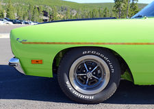 1970 Plymouth Roadrunner is a classic example of a pure muscle car. YELLOWSTONE NATIONAL PARK, WYOMING - CIRCA SEPTEMBER 2015. A 1970 Plymouth Roadrunner is a stock photos