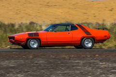 Plymouth Roadrunner. Image of a 1972 Plymouth Roadrunner at a drag racing event in Iceland stock image