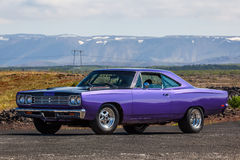 Plymouth Roadrunner. Image of a 1969 Plymouth Road Runner at a drag racing event in Iceland royalty free stock images