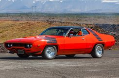 1972 Plymouth Roadrunner. A 1972 Plymouth Road Runner on display at the Muscle Cars event in Iceland 2012 stock image