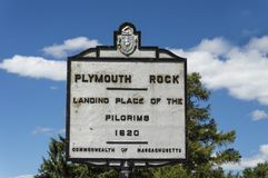 Plymouth Rock, MA, USA. Plymouth Rock signal. The shelter that showcases the famous Plymouth Rock in Plymouth, Massachusetts, USA. This rock marks the supposed stock photo