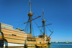 Plymouth`s Mayflower II on Cape Cod. Plymouth, Massachusetts, USA - September 13, 2016: The Mayflower II resides in the harbor, a replica of the 17th century stock images