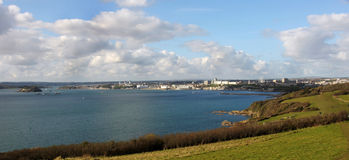 11375 Plymouth Sound. Looking across the Sound towards Plymouth City UK. In view is the Hoe where Francis Drake is purported to have played bowls whilst waiting Royalty Free Stock Images
