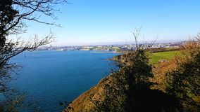 Plymouth Sound from the southwest coast path , Devon, Uk royalty free stock photography