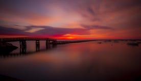 Plymouth sunrise. Sun rising in plymouth, massachusetts Stock Photo