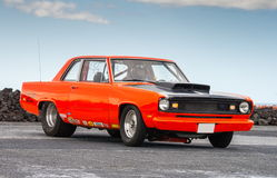 Plymouth Valiant Signet. Photo of a orange colored 1969 Plymouth Valiant Signet at drag racing event in Iceland May 19, 2012 Stock Images
