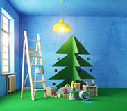 Plywood Christmas tree interior Stock Images