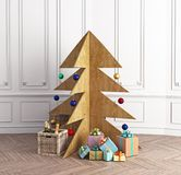 Plywood Christmas tree. In the luxury interior. 3d concept Royalty Free Stock Images
