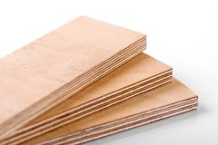 Plywood material. Plywood sheets on white background stock image
