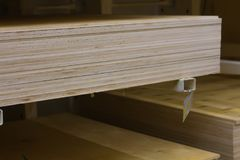 Plywood panel shelf store lie a new lot in the pack Stock Image