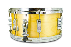 Plywood snare drum isolated on white background. Yellow plywood snare drum isolated on white background Royalty Free Stock Images