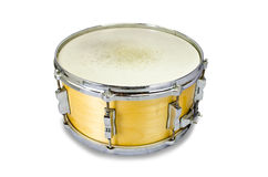 Plywood snare drum  on white background. Yellow plywood snare drum  on white background Royalty Free Stock Photo