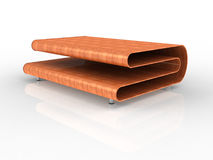Plywood Table. 3d Render of a modern plywood table with white background Royalty Free Stock Photos