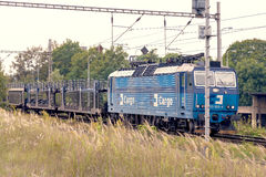 Plzen, Czech Republic - Februar 25, 2017 - Blue and gray electric locomotive Stock Image