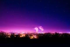 Plzen nella notte Fotografia Stock Libera da Diritti