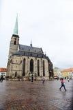 PLZEN, REPUBBLICA CECA - 5 GIUGNO: Cattedrale di St Bartholomew sul quadrato della Repubblica fotografia stock libera da diritti