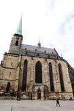 PLZEN, REPUBBLICA CECA - 5 GIUGNO: Cattedrale di St Bartholomew sul quadrato della Repubblica immagini stock libere da diritti