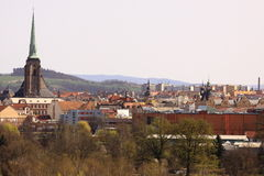 Plzen scenery. The view of Plzen scenery dominated by the spire of  Saint Bartholomew Cathedral, Czech Republic Stock Photos