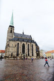 PLZEN, TSCHECHISCHE REPUBLIK - 5. JUNI: Kathedrale von St Bartholomew auf dem Republikquadrat Lizenzfreies Stockfoto