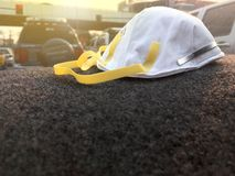 PM2.5 dust mask protection in front of car. Ready to wear to protect air pollution. stock images