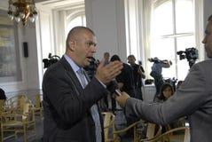 PM & MINISTRO PER LA CONFERENZA STAMPA DEL GIUNTO DI FINANC E Immagine Stock